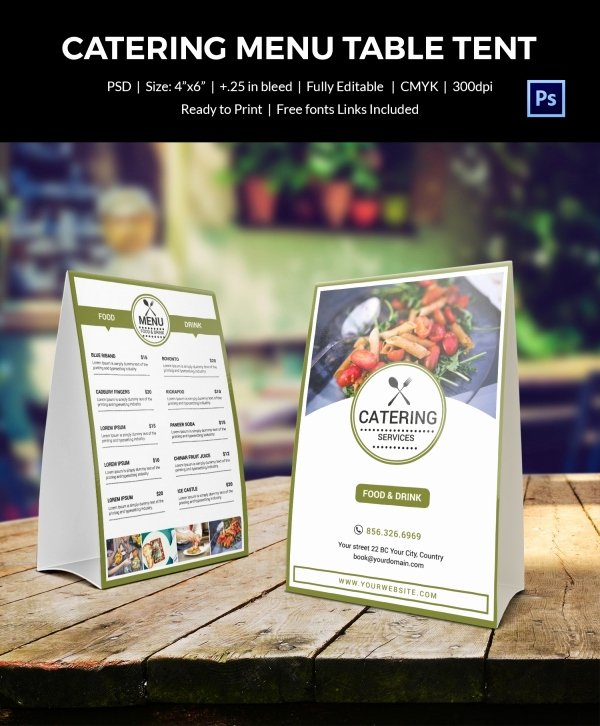 Restaurant Table Tent Template Elegant Table Tent Menu Design