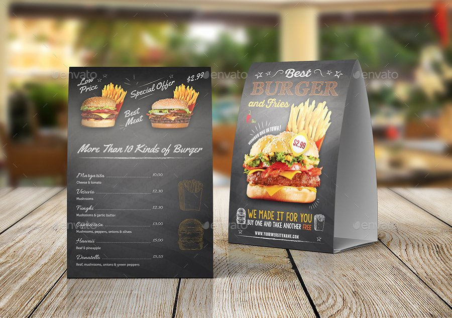 Restaurant Table Tent Template Fresh Burger Restaurant Table Tent Template Vol 2 by Ow