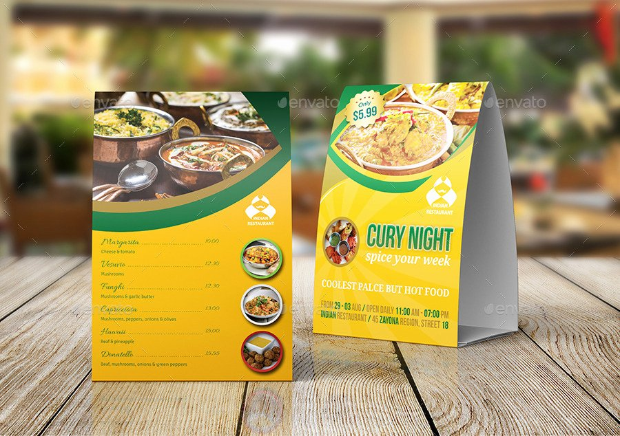 Restaurant Table Tent Template Fresh Indian Restaurant Table Tent Template by Ow