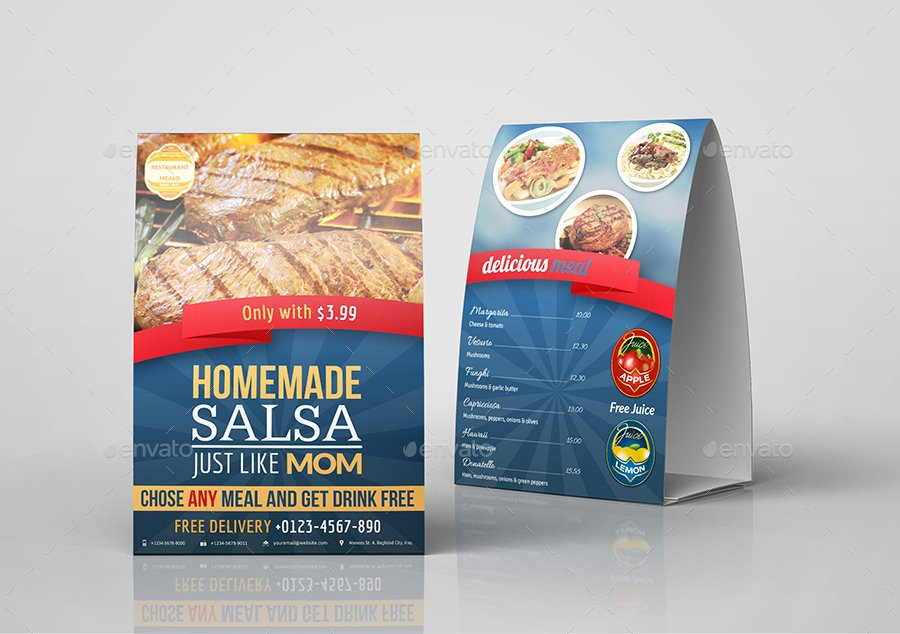 Restaurant Table Tent Template Fresh Restaurant Advertising Bundle Vol 9 by Ow