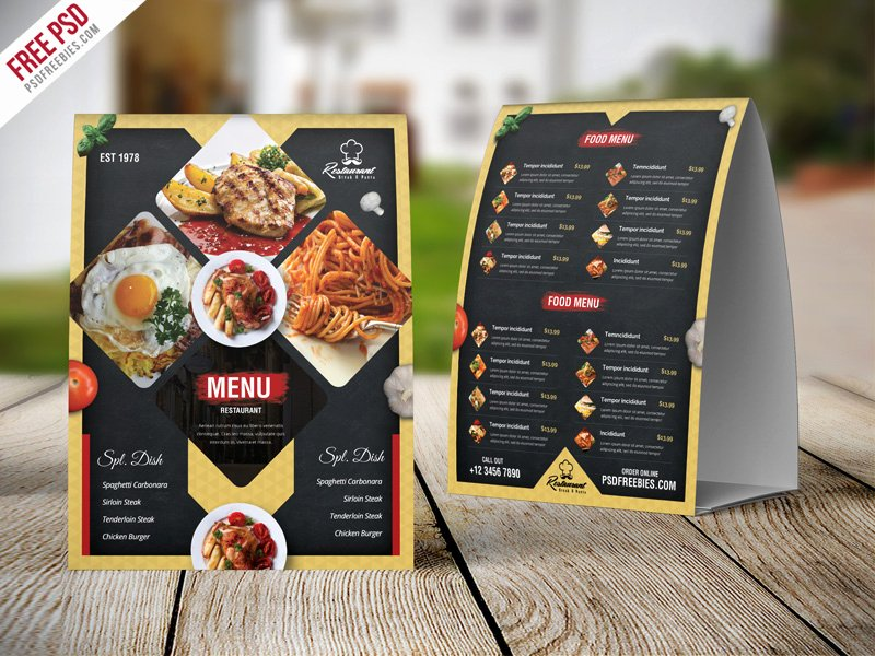 Restaurant Table Tent Template Inspirational Restaurant Menu Table Tent Card Psd Template
