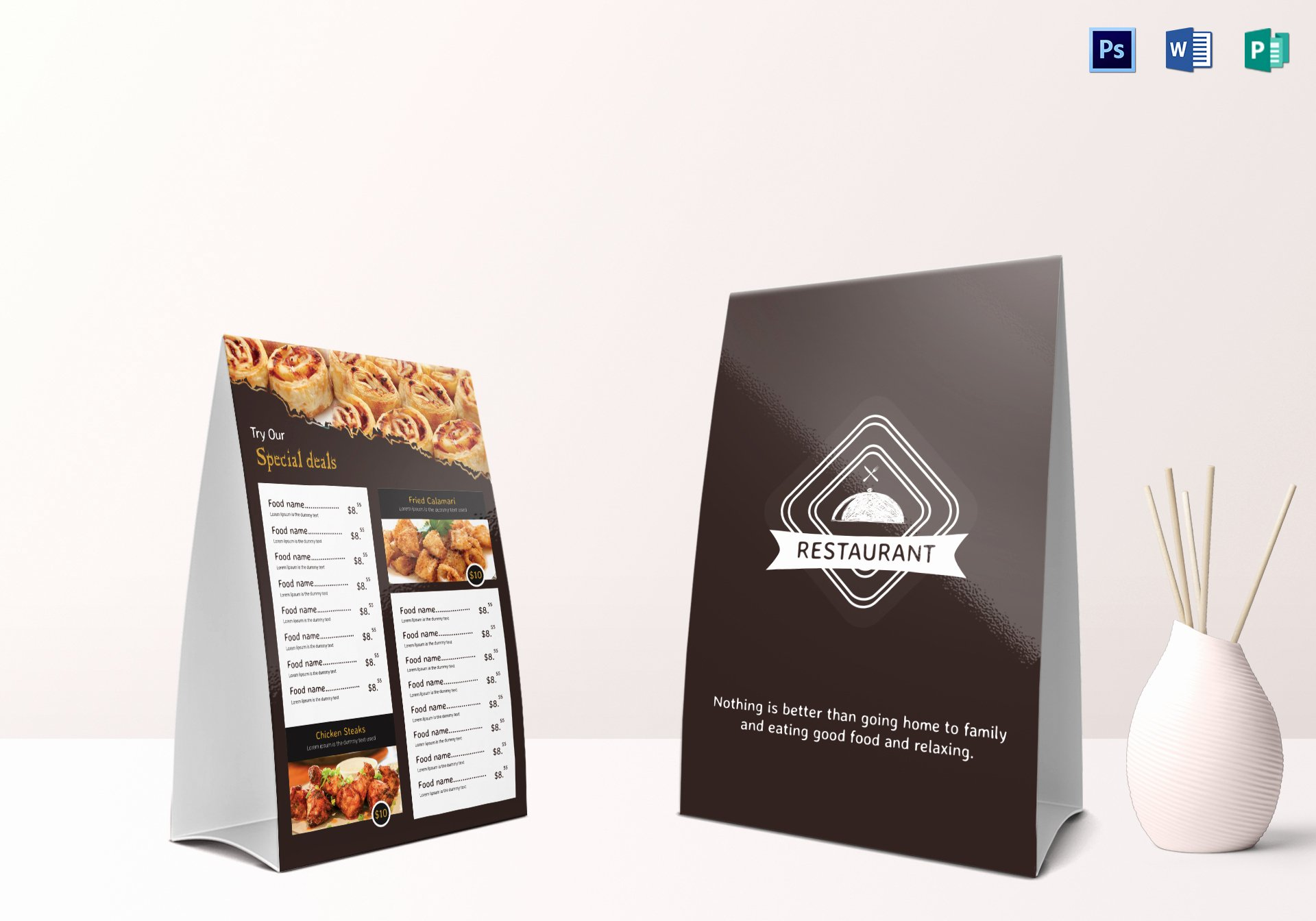 Restaurant Table Tent Template Inspirational Restaurant Table Tent Menu Design Template In Psd Word