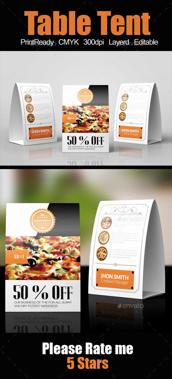 Restaurant Table Tent Template Inspirational Restaurant Table Tent Template by Designhub719 On Deviantart