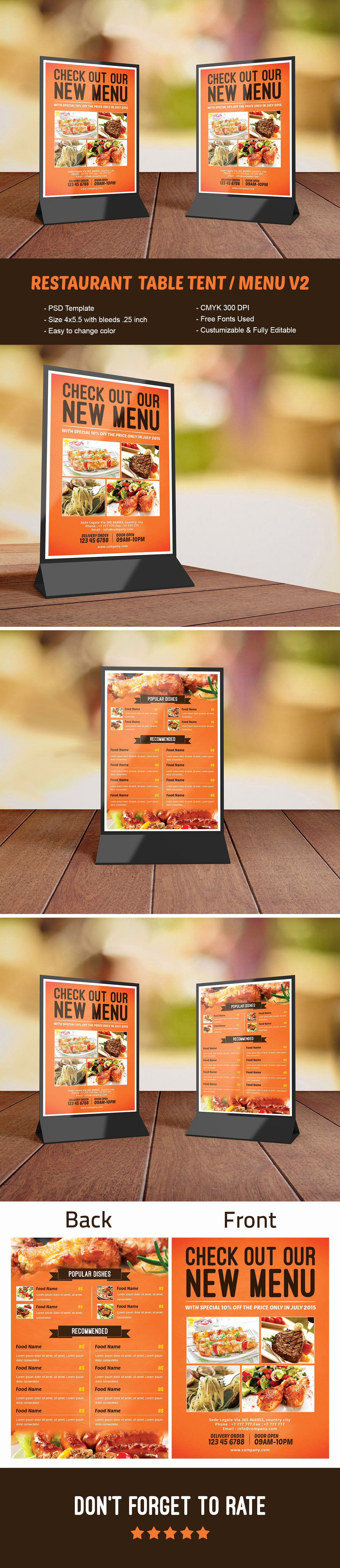 Restaurant Table Tent Template Lovely Restaurant Table Tent Menu V2 Template On Behance