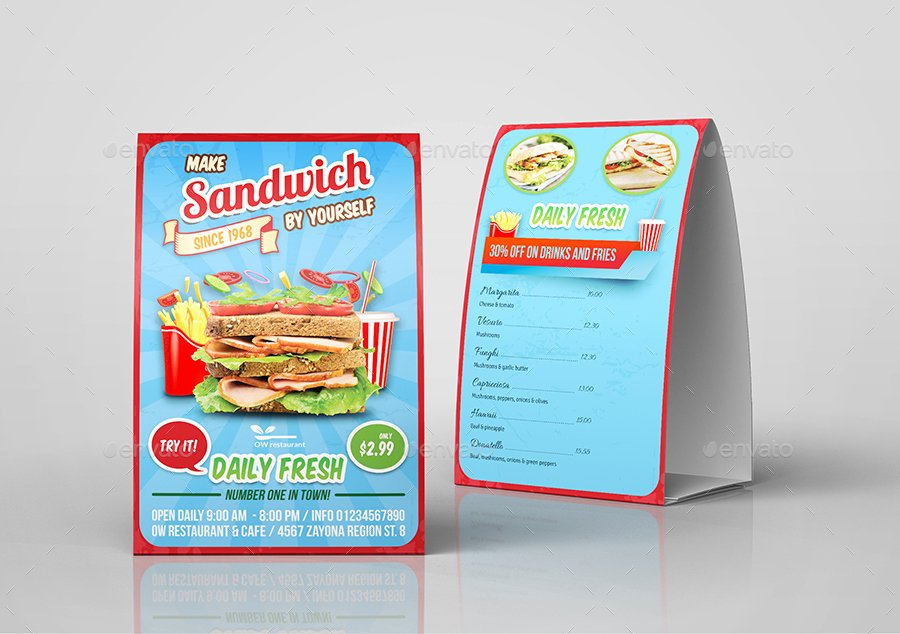 Restaurant Table Tent Template New Sandwich Restaurant Table Tent Template by Ow
