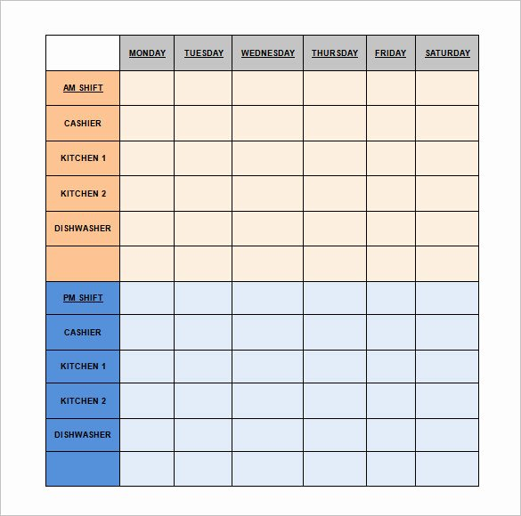 Restaurant Work Schedule Template Fresh Restaurant Schedule Template 11 Free Excel Word