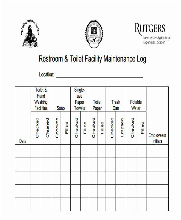 Restroom Cleaning Log Template Awesome 42 Log Templates