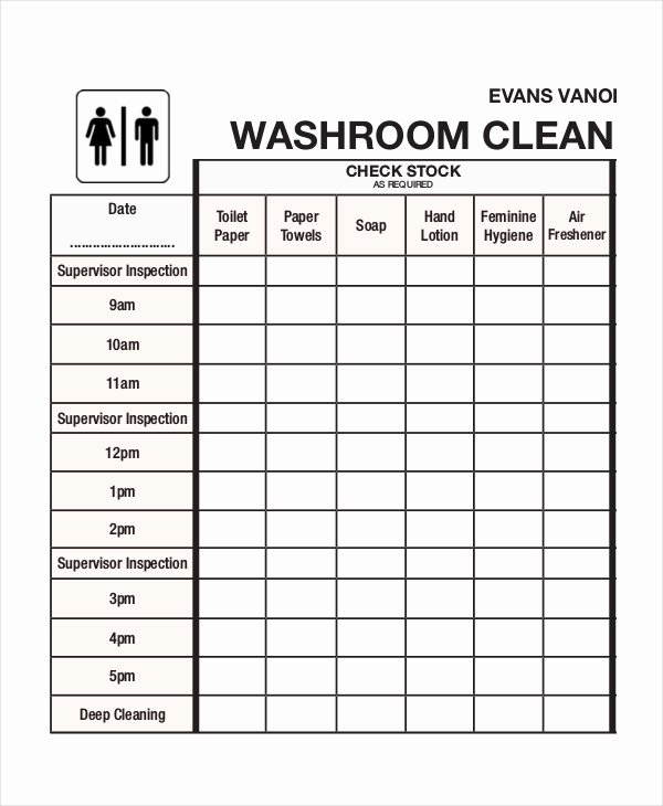 Restroom Cleaning Log Template Awesome Cleaning Roster Template 6 Free Word Pdf Documents
