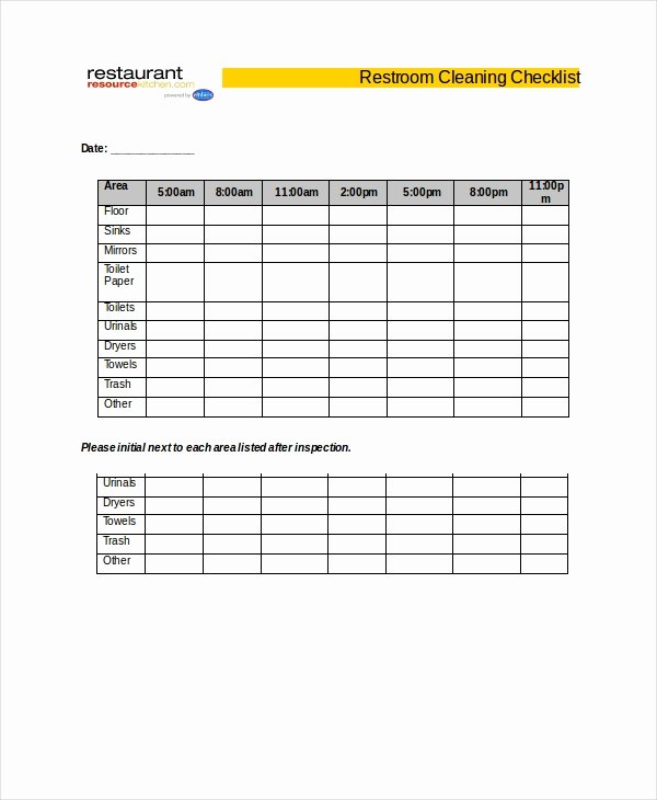 Restroom Cleaning Log Template Inspirational Cleaning Checklist 31 Word Pdf Psd Documents Download