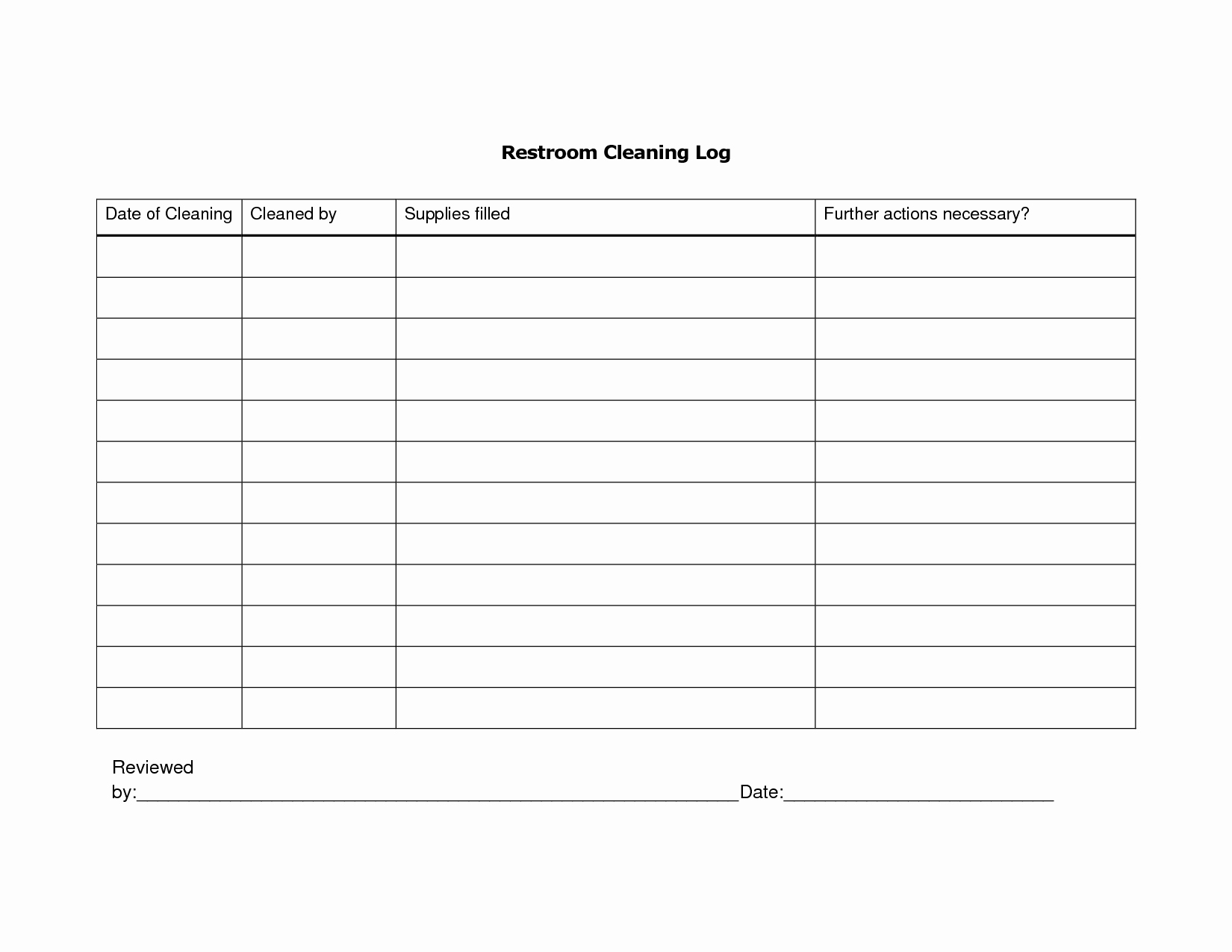 Restroom Cleaning Log Template Lovely 8 Best Of Restroom Cleaning Schedule Printable