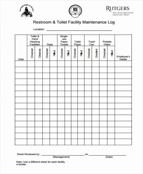Restroom Cleaning Log Template Lovely Bathroom Log Template