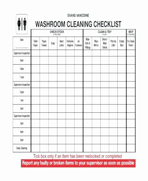 Restroom Cleaning Log Template Luxury Bathroom Cleaning Kit Checklist Small House Interior