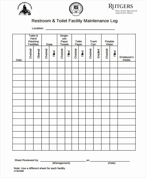 Restroom Cleaning Log Template Unique 52 Printable Log Sheet Templates