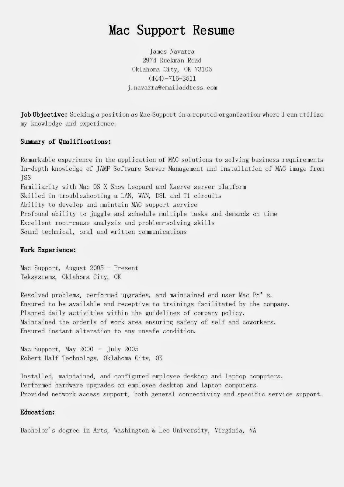 Resume Template for Mac Awesome Resume Samples Mac Support Resume Sample