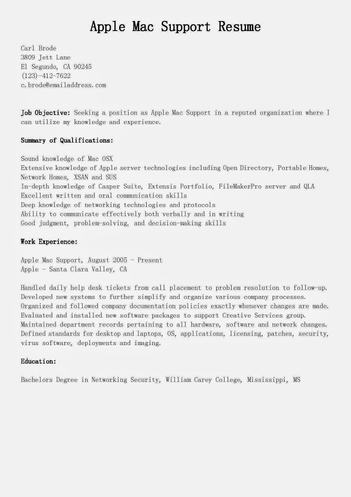 Resume Template for Mac New Resume Samples Apple Mac Support Resume Sample