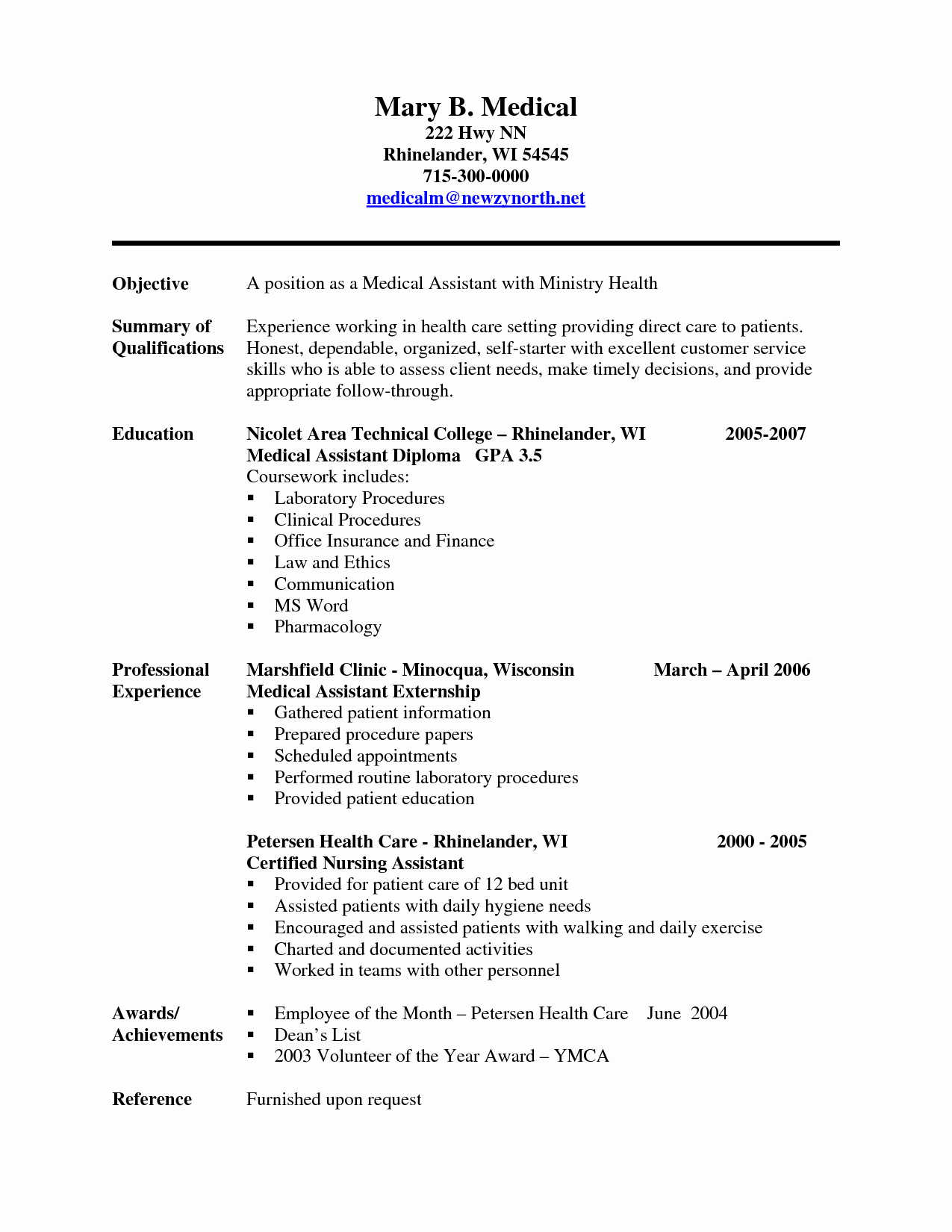 Resume Template for Medical assistant Awesome Experienced Medical assistant Resume Sample Cakepins