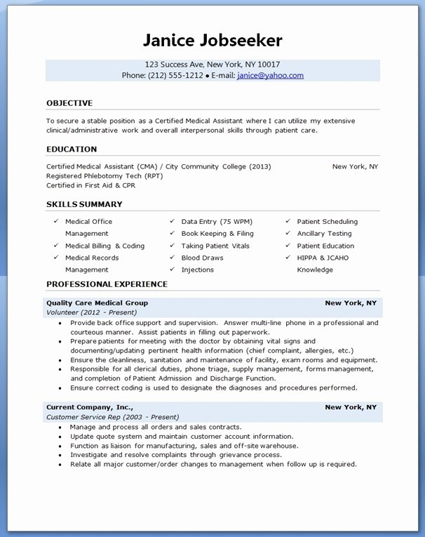 Resume Template for Medical assistant Awesome Medical assistant Resume Sample
