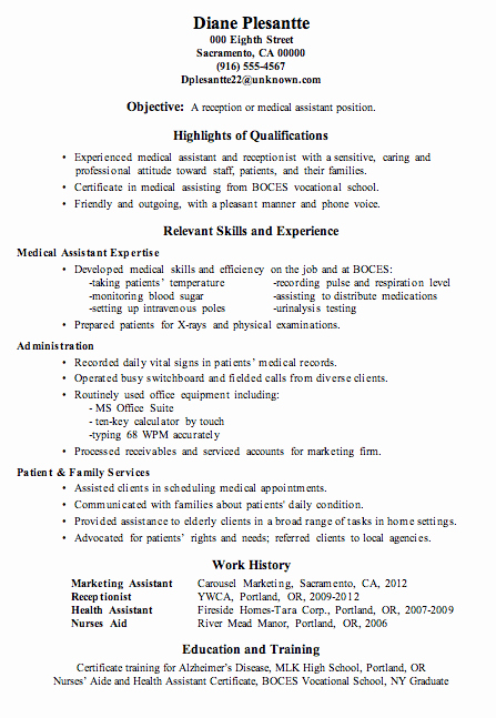 Resume Template for Medical assistant Awesome Resume Sample Receptionist or Medical assistant