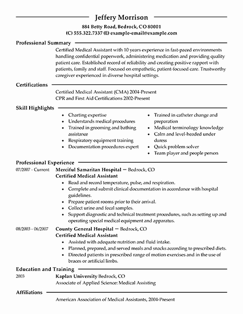 Resume Template for Medical assistant Beautiful Best Medical assistant Resume Example
