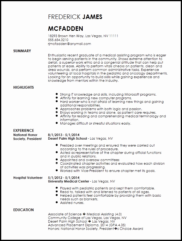 Resume Template for Medical assistant Best Of Free Entry Level Medical assistant Resume Template