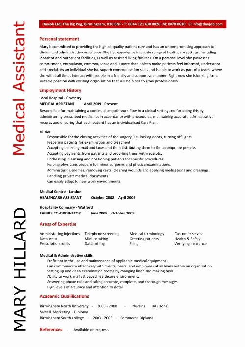 Resume Template for Medical assistant Best Of Sample Of A Medical assistant Resume 2016
