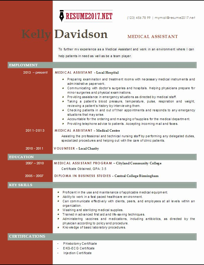 Resume Template for Medical assistant Best Of top 6 Medical assistant Resume Templates 2017