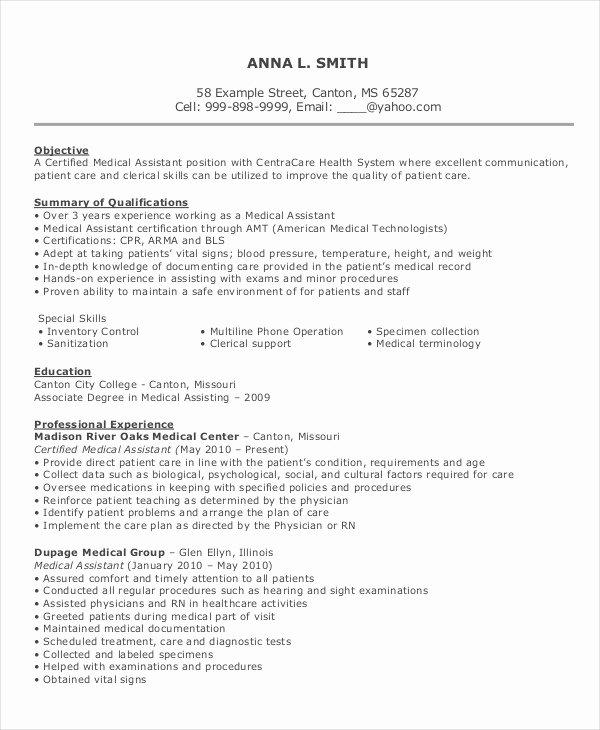 Resume Template for Medical assistant Elegant 10 Medical assistant Resume Templates Pdf Doc