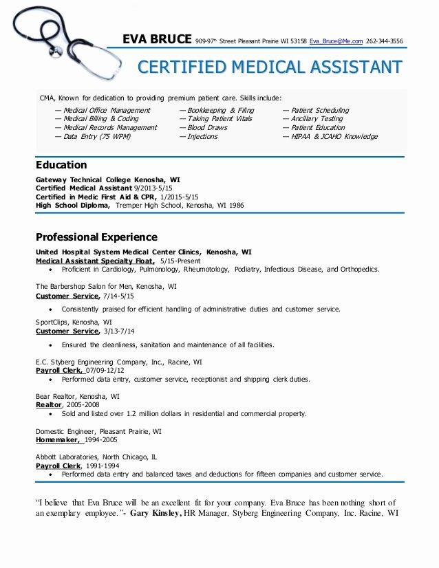 Resume Template for Medical assistant Elegant Certified Medical assistant Resume Eva Bruce