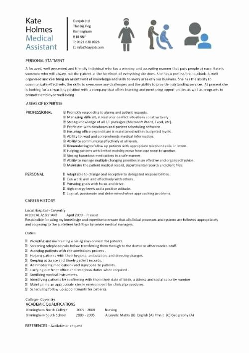 Resume Template for Medical assistant Fresh Medical assistant Resume Samples Template Examples Cv