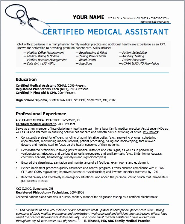 Resume Template for Medical assistant Fresh Sample Resumes for Medical assistant