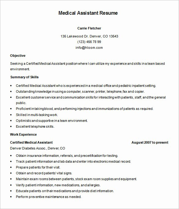 Resume Template for Medical assistant Inspirational 5 Medical assistant Resume Templates Doc Pdf