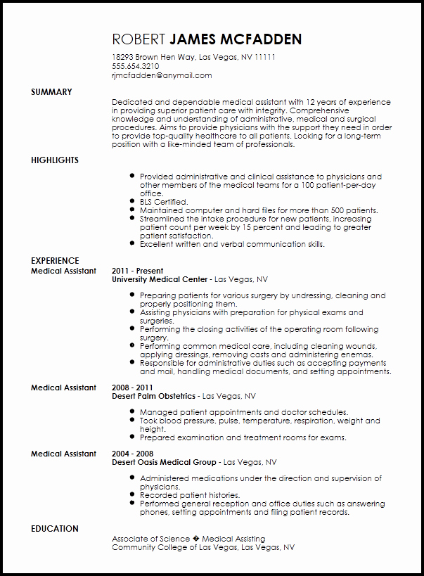 Resume Template for Medical assistant Inspirational Free Traditional Medical assistant Resume Template