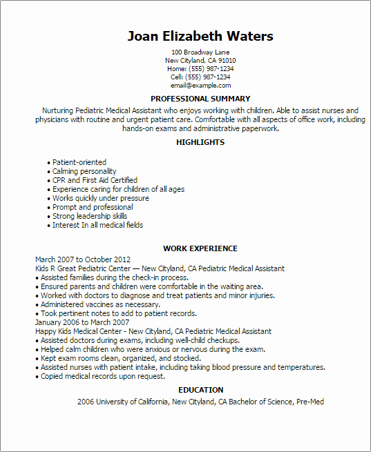 Resume Template for Medical assistant Inspirational Pediatric Medical assistant Resume Template — Best Design