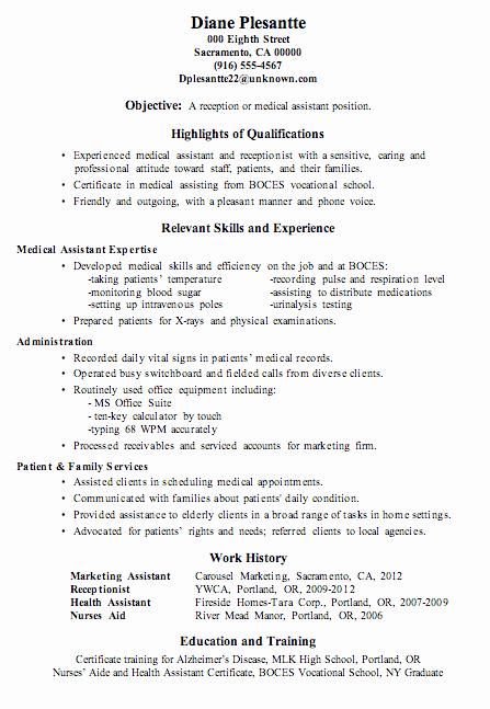 Resume Template for Medical assistant Inspirational Resume Sample Receptionist or Medical assistant