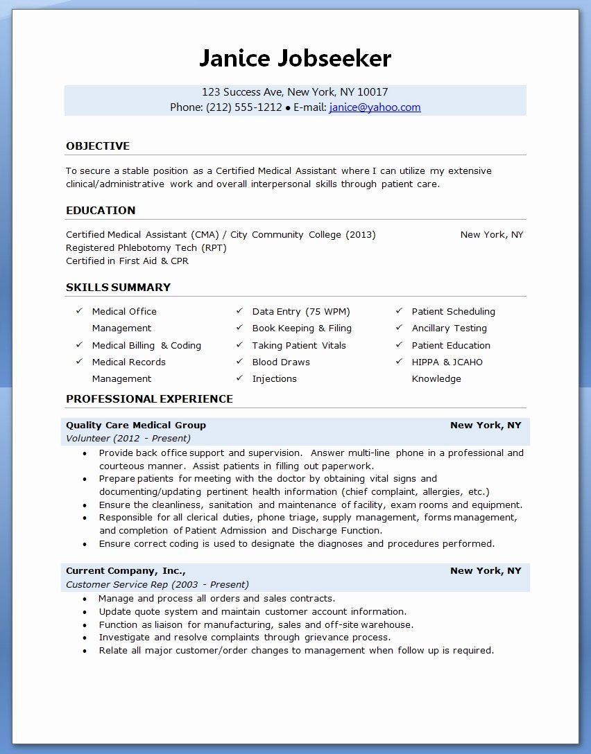 Resume Template for Medical assistant Inspirational Sample Of A Medical assistant Resume 2016