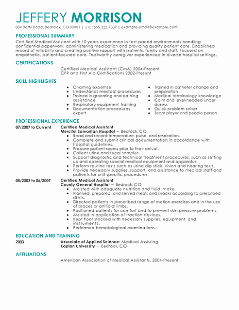 Resume Template for Medical assistant Luxury Best Medical assistant Resume Example