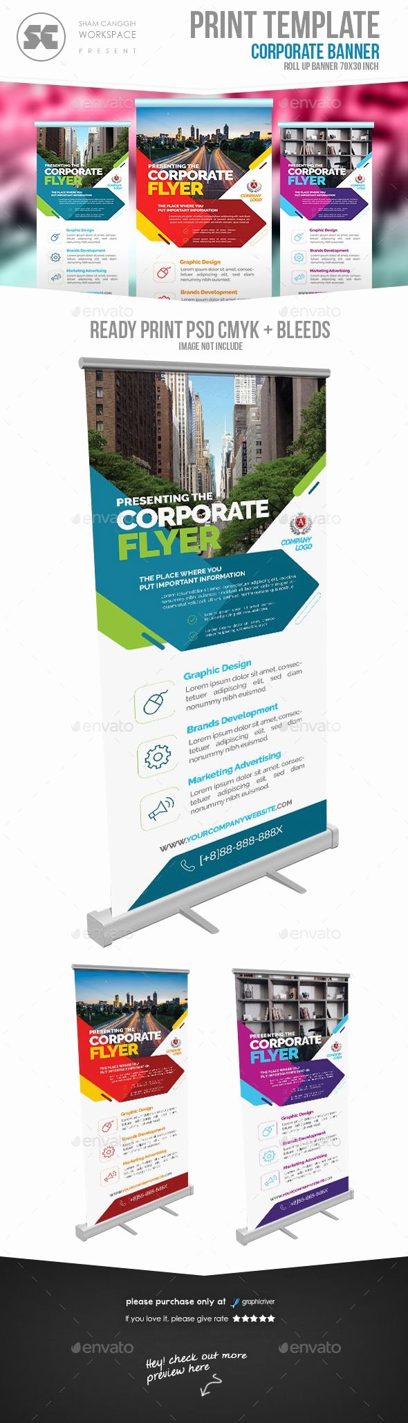 Retractable Banner Template Psd Awesome Corporate Roll Up Banner Signage Print Templates