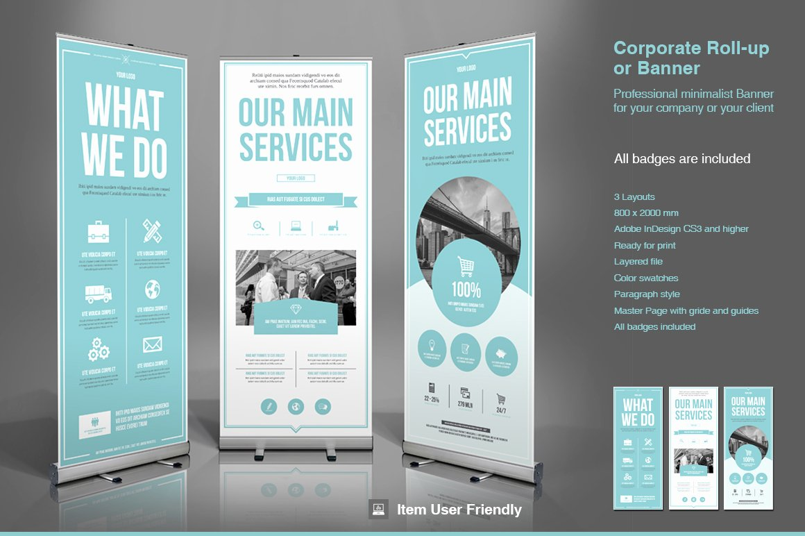 Retractable Banner Template Psd Inspirational Business Roll Up Banner Flyer Templates On Creative Market