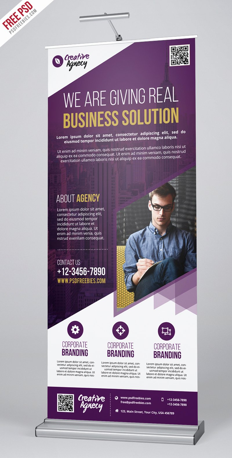 Retractable Banner Template Psd Inspirational Free Psd Creative Agency Roll Up Banner Psd Template On
