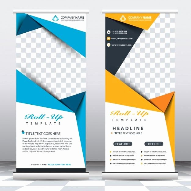 Retractable Banner Template Psd Lovely Blue and Yellow Roll Up Templates Free Vector