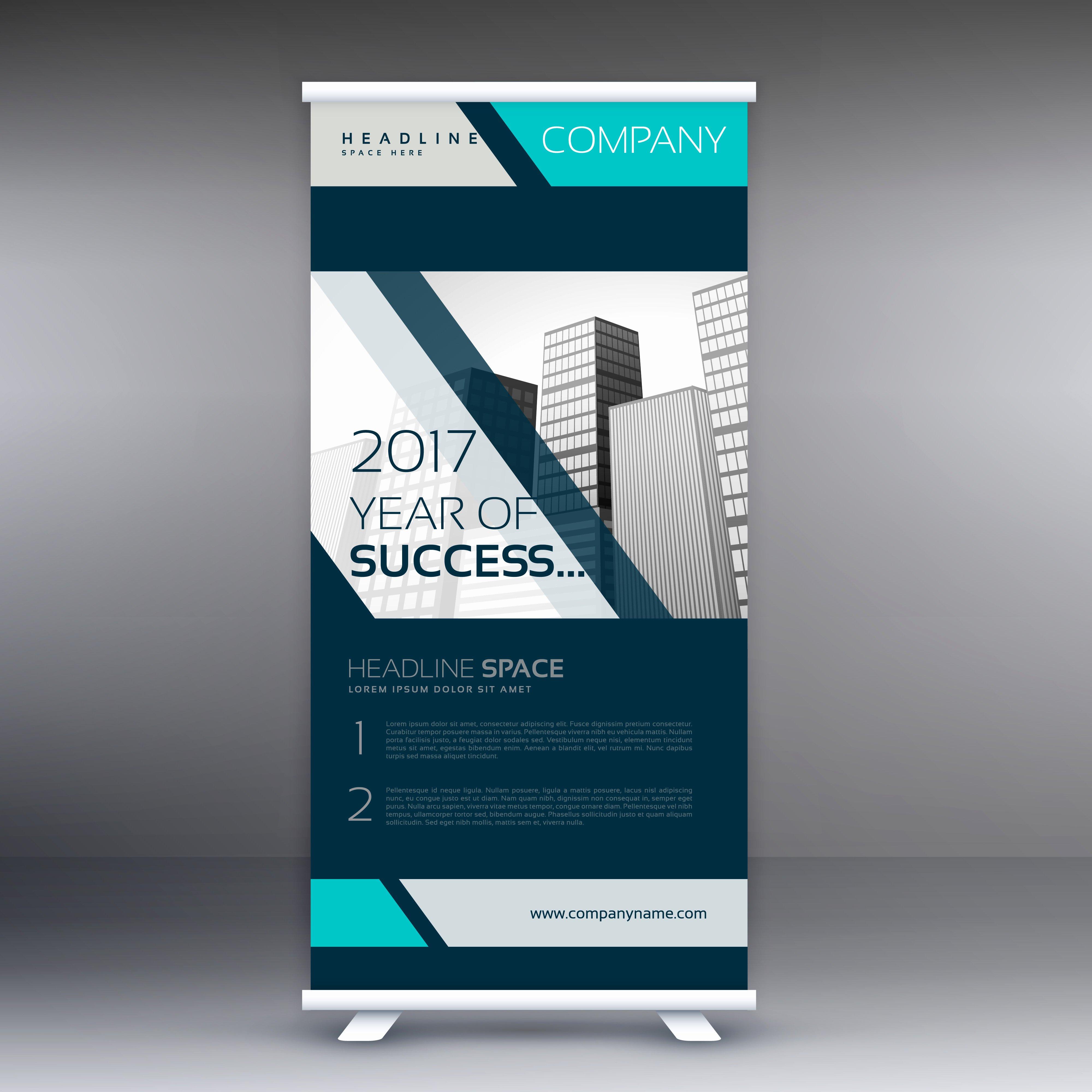 Retractable Banner Template Psd Luxury Business Standee Roll Up Banner Vector Design Download