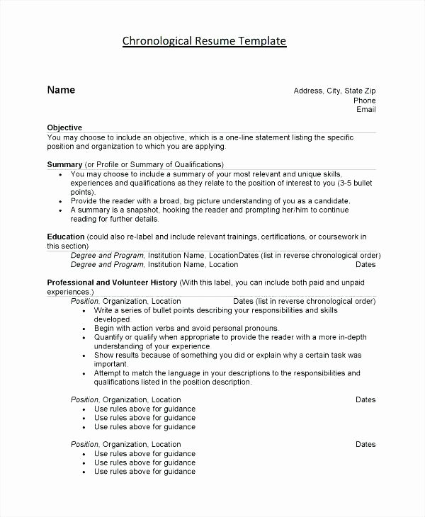 Reverse Chronological Resume Template Elegant Chronological order Resumes – Creero