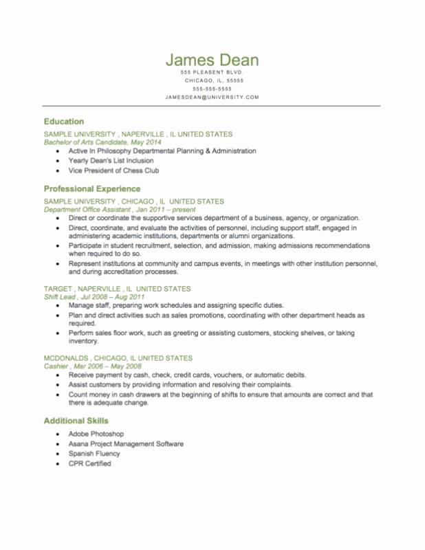 Reverse Chronological Resume Template Fresh Resume Chronological order