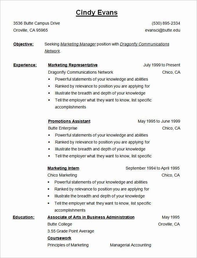 Reverse Chronological Resume Template Inspirational Chronological Resume Template – 25 Free Samples Examples