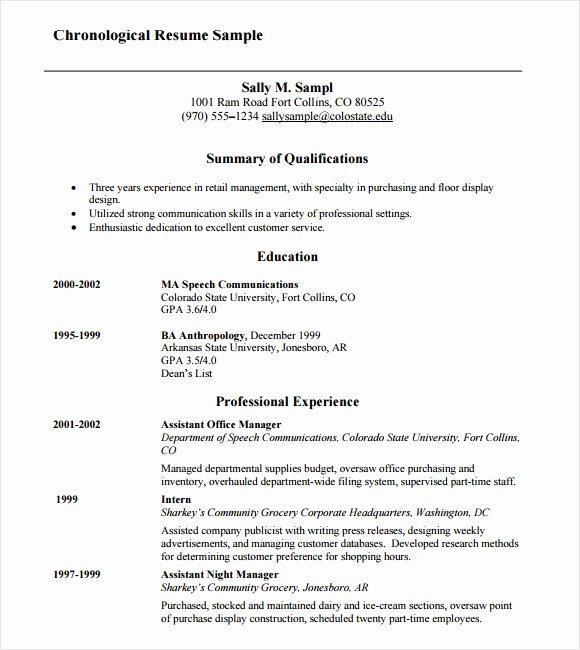 Reverse Chronological Resume Template Lovely 10 Chronological Resume Templates – Samples Examples