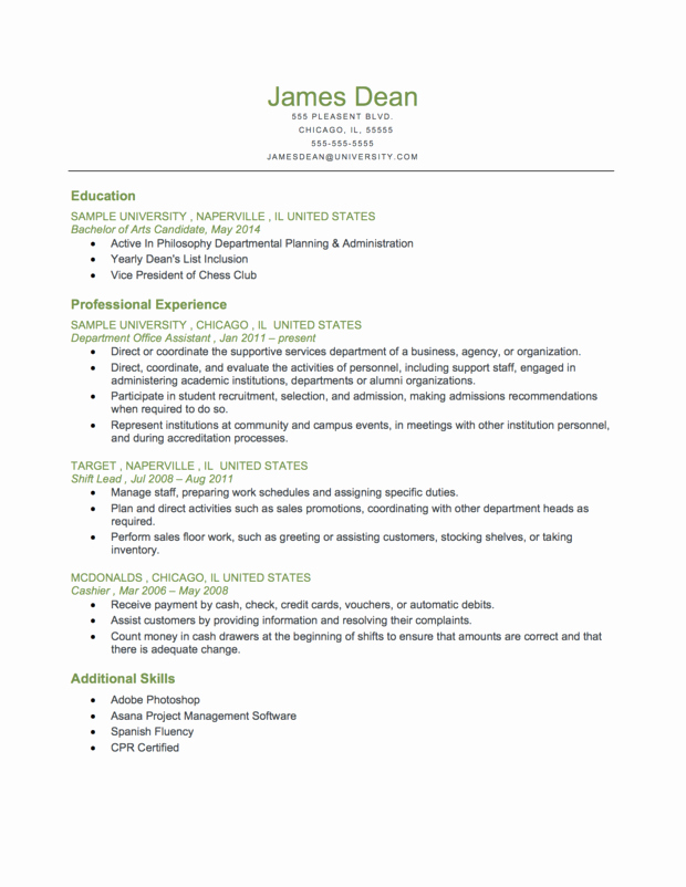 Reverse Chronological Resume Template New Example A Student Level Reverse Chronological Resume