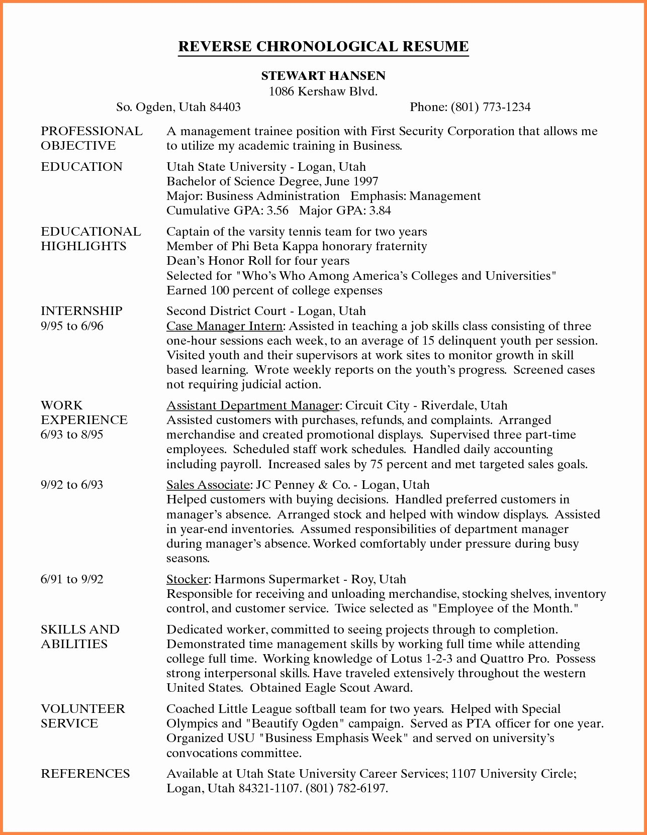 Reverse Chronological Resume Template Unique Reverse Chronological Resume All Resume Simple Resume