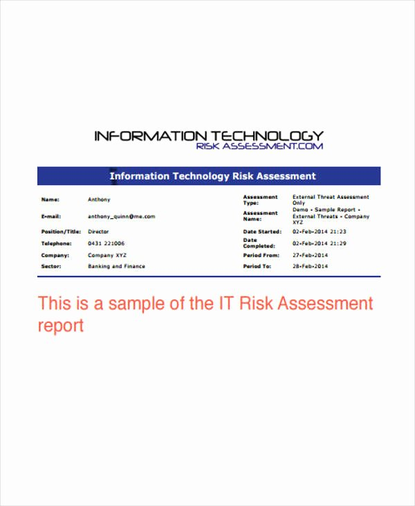 Risk assessment Report Template Fresh 16 It Report Templates Free Sample Example format