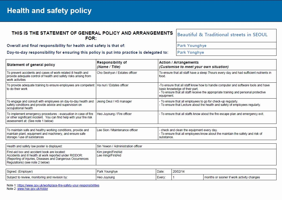 Risk assessment Report Template New Health and Safety Implications Risk assessment Report