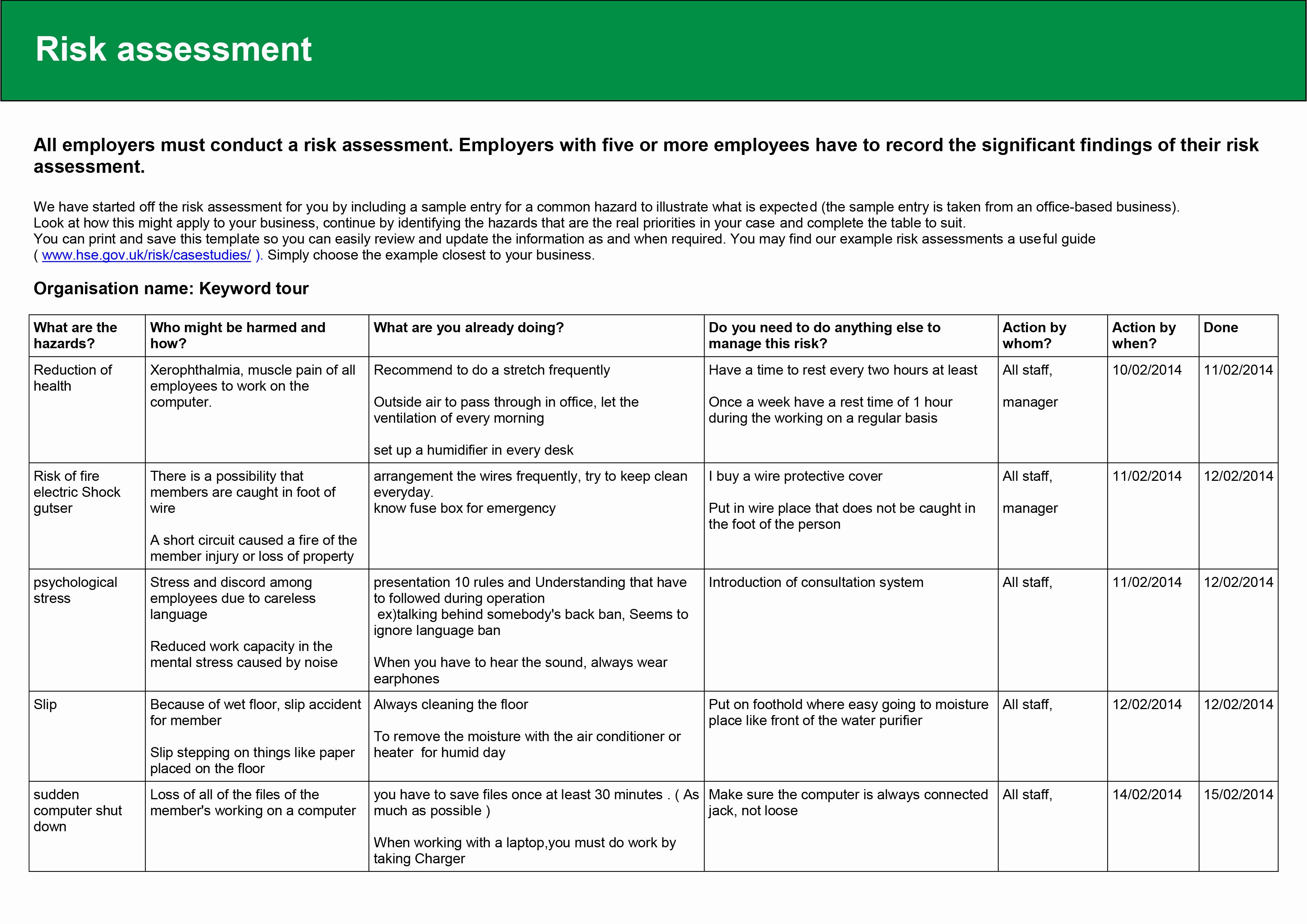 Risk assessment Report Template Unique February 2014 – Kylie